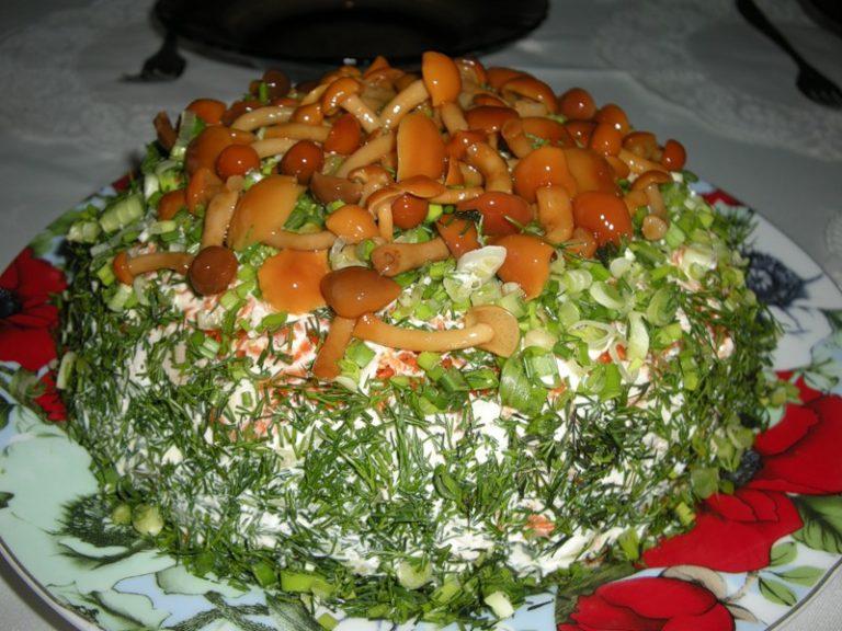 Салат грибная полянка с с шампиньонами