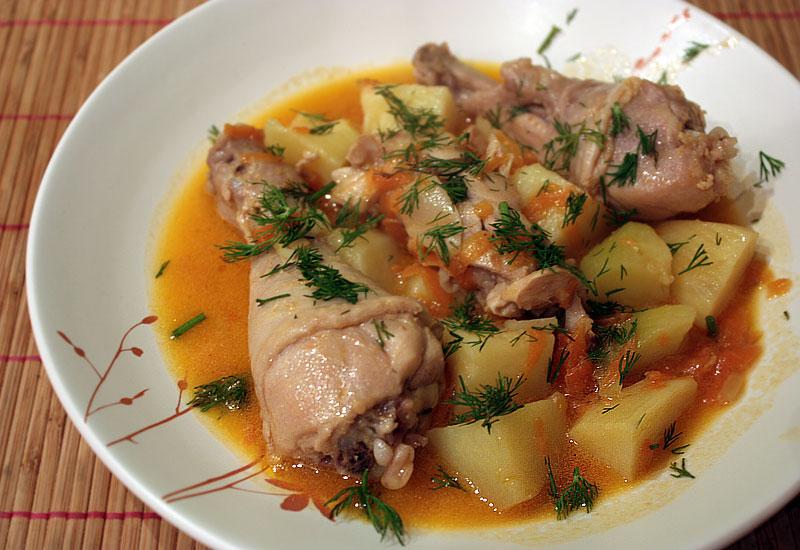 Рецепт тушеной картошки в мультиварке с курицей рецепты с пошагово
